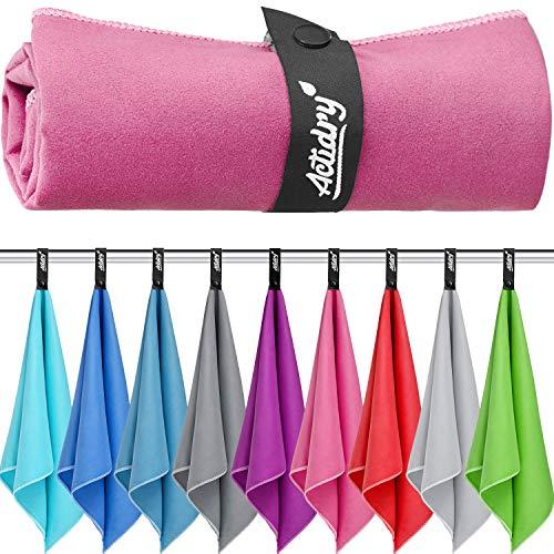 Mikrofaser Handtuch XL 100 x 200 cm - Rosa - Strandtuch Badetuch | leicht schnelltrockend und hochsaugfähig | Handtücher in 9 Farben und S M L XL Größen