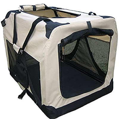 BUNNY BUSINESS Folding Fabric Dog Crate Pet Carrier with Fleece, 40-inch, XXXL, Beige