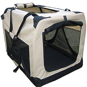 BUNNY-BUSINESS-Folding-Fabric-Dog-Crate-Pet-Carrier-with-Fleece-40-inch-XXXL-Beige