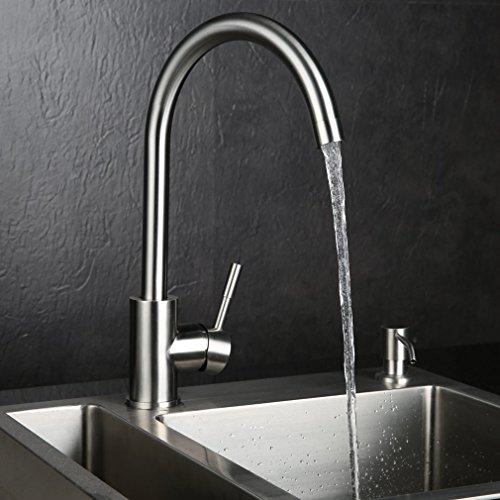 KINSE® Zeitgenössig Spültisch Mischbatterie Waschtischarmatur mit hohem Auslauf für Spüle Küchen Bad Waschbecken