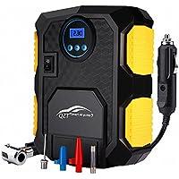 Kompressor,QZT Tragbare Auto reifenpumpe mit LED-Licht und Digital-Manometer. 3 Ventiladapter, 3M Kabel mit 12V DC Zigarettenanzünder