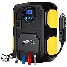 QZT Compresor de Aire Comprimido Portàil Para Coche ,Pantalla Barométrica Digital, Con Cable de 3 Metros no Visible. Para autos, Scooters, Accesorios.