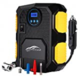 Compresseur d'air Portable, QZT 12V Digital Compresseur air avec Lampe LED ,3 Adaptateurs de Buse,Câble 3m -150PSI...