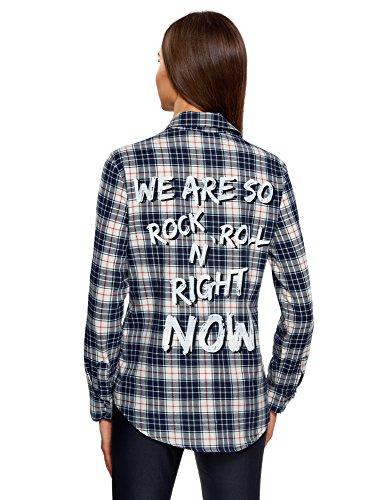 oodji Ultra Damen Lässiges Hemd mit Schriftzug am Rücken Blau (3079C)