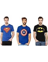 Smartees Cotton Black & Blue Superman, Batman & Captain America Tshirt For Men Combo Pack Of 3