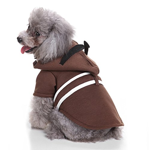 LongYu Hundebekleidung, Pet Small Dog Hoodid Mantel Winter Kostüm Brustschutz Mode Set mit Hut Siamese Coat 4 Größe (Color : Brown, Size : XL)