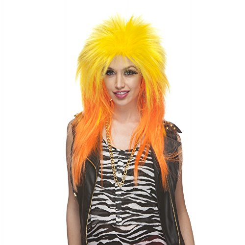 Characters Extra Long Rocker Synthetic Wig - Yellow And Orange
