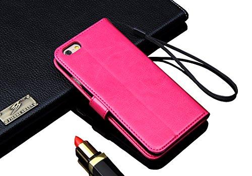 Wormcase Handytasche iPhone 6 - 6S - Lederhülle - KARTENFACH - MAGNETVERSCHLUSS - Farbe Pink - Zubehör Case Ledertasche Handyhülle Etui Flip-Case Cover Schutzhuelle Rosa