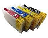 hemei @ T129Full nachfüllbar Tintenpatrone für Epson B42WD SX435W SX230SX235W SX430W SX420W SX425W SX435W SX438SX440W SX445W SX525WD SX535WD SX620FW BX305F BX305FW bx525fw Drucker 4PCS T129Tinte