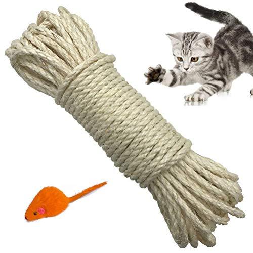 Yangbaga Natural Sisal Seil 6mm Ersatz Alte DIY Zubehör String ideal für den Austausch Katze Baum Griffoir (20 m, weiß) -