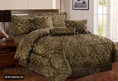 Ruby Chocolate Double Quilted 7 Pieces Bedspread Modern Damask Jacquard Luxury Comforter Complete Bedding Set Includes Comforter, Bedspread, Valance Sheet, Sham Pillow Cases, Cushions & Neck Roll by Quality Linen and Towels