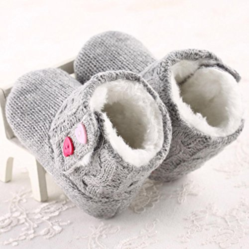 OverDose Baby-Mädchen Baby weiche Sohle Krippe Warm Knopf Wohnungen Cotton Boot Kleinkind Pre Rollator Schuhe (3-18 Monate) Grau