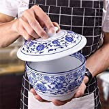 Canju Ustensiles de cuisine/Vaisselle/Jardin/Vaisselle de camping Céramique Soupe Ramen Bol à pâtes avec couvercle Salade de fruits rétro Riz cuit à la vapeur Ragoût d'œufs à la vapeur Cubilose