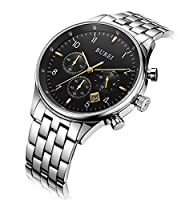 Burei Reloj de Pulsera con cronógrafo para Hombre, con Calendario, Cristal de Zafiro Resistente a los arañazos, multifunción de BUREI