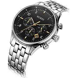 BUREI Herren Datum Kalender kratzfestes Saphir Objektiv Chronograph Big Face Multifunktions-Uhr Armbanduhr