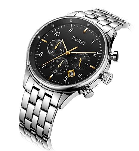 BUREI Herren Chronograph Armbanduhr Schwarzem Zifferblatt mit Saphirglaslinse Datum Kalender und Edelstahl Armband Luxus Männer Uhren