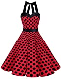 Dresstells Halter 50s Rockabilly Polka Dots Dots Dress Petticoat Pleated Skirt Red Black Dot L