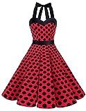 Dresstells, Version3.0 Vintage 1950's Audrey Hepburn pin-up Robe de soirée Cocktail, Style Halter années 50 à Pois, Rouge-Noir L