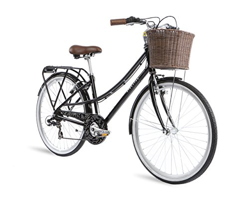 Kingston Primrose, Ladies Classic Bicycle, 7 Speed, 26 Inch Wheel, Black/Silver (19 Inch Frame)