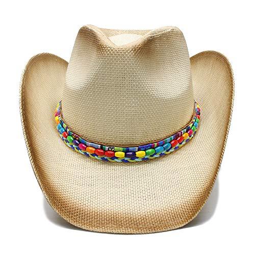 Frauen-Stroh-Western-Cowboy-Hut mit Farbiger Perlen-Kette handgemachte Webart-Dame Dad Sombrero Hombre Cowgirl-Jazz (Farbe : Natürlich, Größe : 58 cm) ()