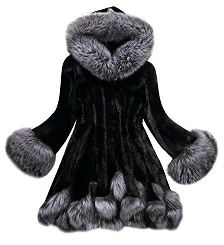 Abrigos Mujer,Culater Mujeres Parka Outwear abrigo de piel de Pelaje (Artificial) (M, Negro)