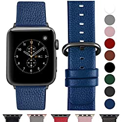 Fullmosa Bracelet Cuir Apple Watch 42mm/44mm(Serie 4) Homme Femme, Bracelet iWatch Series 5 4 3 2 1,Nike+ Hermes & Edition,42mm 44mm Blue foncé+Boucle Bronze