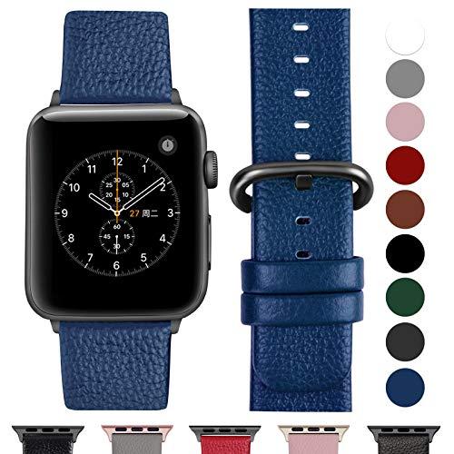 Fullmosa Compatible Watch Bracelet 42mm/44mm(Serie 4) Cuir Véritable, Bracelet Watch Series 4 3 2 1,Nike+ Hermes & Edition,42mm 44mm Blue foncé+Boucle Bronze