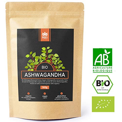 Holi Natural® Premium BIO Ashwagandha Wurzel Pulver - 500g und 250g - ECHTE Indische Withania Somnifera aus kontrolliert biologischem Anbau - im biologisch abbaubaren wiederverschließbaren Beutel - 500g Pulver