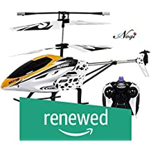 (Renewed) Negi Rechargeable Radio Control 2 Channel Flying Helicopter with New Durable Structure Design and Led Light( Color May Vary)