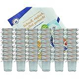 48er Set Weck Gläser 160 ml Sturzgläser mit 48 Glasdeckeln, 48 Einkochringen und 96 Klammern incl. Diamant-Zucker Gelierzauber Rezeptheft