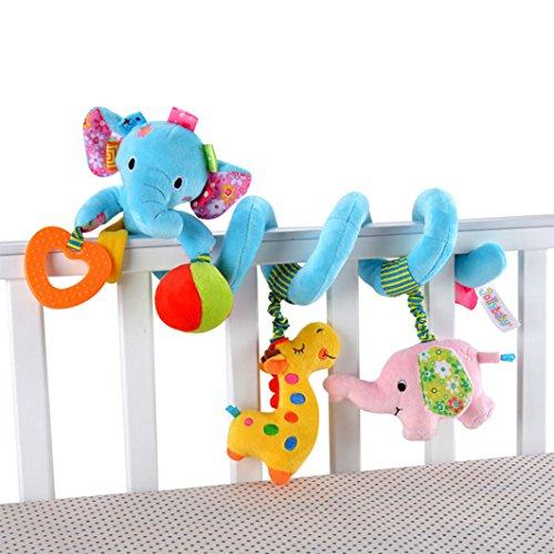 Dearmy Kinder Säugling Baby Aktivität Spiral Wickeln Um Krippe Bett Korbwiege Kinderwagen Hängend Spielzeug Baby Weich Baumwolle Plüsch Ausgestopft Tier Beschwichtigen Frühe Erziehung Spielzeug Mit Beißring (blauer Elefant)