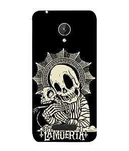 PrintVisa Designer Back Case Cover for MMXSparkQ380 (Black&White Skeleton Fear Skull)