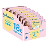 Image of Johnson's Baby Extra Sensitive Fragrance Free Wipes - Pack of 18, Total 1008 Wipes