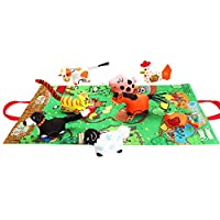 Amazemarket 39cm Baby Infant Creative Cloth Book Toy Assemble Soft Ring Rattle Sound Cute Animal Play Mat Sensory Exploration Tear-resistant Multifunctional Gift (farm)