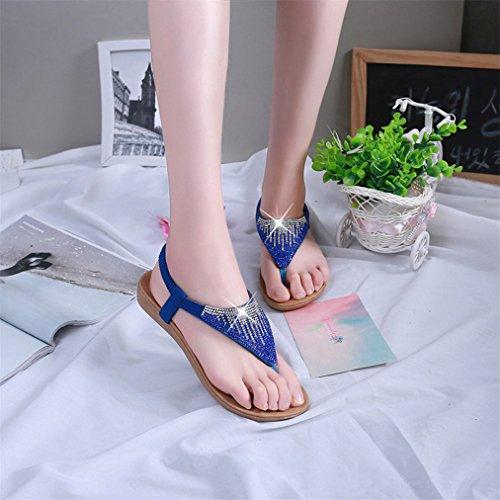 Vovotrade Frauen flache Schuhe Sequin Bohemia Freizeit Lady Sandalen Peep-Toe Flip Flops Schuhe Blau
