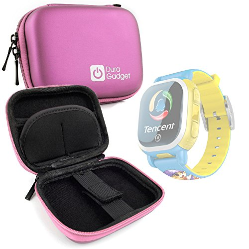 Duragadget custodia protettiva rosa per tencent pq708 qqwatch bambini | misafes smart watch gps | q5s tracker | nilox bodyguard | kkmoon gps orologio | ns childs | turnmeon baby - con tasca interna per accessori