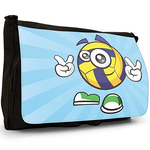 sporticons Happy Sport Balls–Borsa Tracolla Tela Nera Grande Scuola/Borsa Per Laptop Sporticon Peace Out Volley