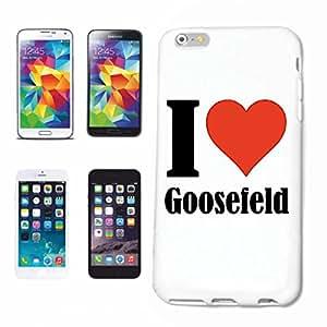 """Handyhülle Samsung Galaxy S4 i9500 """"I Love Goosefeld"""" Hardcase Schutzhülle Handycover Smart Cover für Samsung Galaxy S4 i9500 … in Weiß … Schlank und schön, das ist unser HardCase. Das Case wird mit einem Klick auf deinem Smartphone befestigt"""