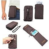 DFV mobile - Multi-functional Universal Vertical Stripes Pouch Bag Case Zipper Closing Carabiner for => LG G5 SE > Brown XXM (18 x 10 cm)