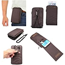 DFV mobile - Multi-functional Universal Vertical Stripes Pouch Bag Case Zipper Closing Carabiner for => BLACKVIEW ULTRA PLUS > Brown XXM (18 x 10 cm)