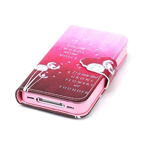 Custodia per Apple iPhone 4, ISAKEN iPhone 4S Flip Cover con Strap, Elegante Sbalzato Embossed Design in Pelle Sintetica Ecopelle PU Case Cover Protettiva Flip Portafoglio Case Cover Protezione Caso c Dandelion rosso