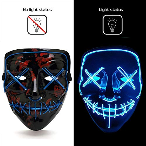 AnseeDirect The Purge Maske Halloween Maske Clown Maske mit EL Wire Light 4 Modi Veränderbar Strapazierfähiges ABS Material für Halloween Karneval Maskenball Unfug (Purge-maske Halloween Der)