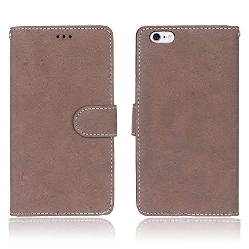 iPhone Case Cover Solid Color Premium PU-Leder Tasche Cover matt Retro Flip-Ständer Case Wallet Fall mit Kartensteckplätze Foto Frames für Apple IPhone 6 6s Plus ( Color : 1 , Size : Apple IPhone 6 6s 3