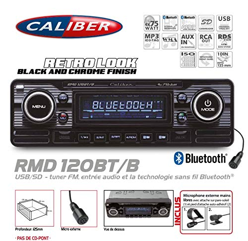 Vintage Autoradio Caliber Look Retro Black USB/SD (ohne CD-Brücke) Bluetooth