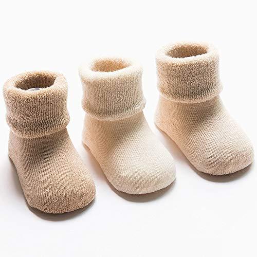 Goodplan 3 Paare Praktische Säuglingsbaby-Socken Nette warme Starke Terry Baumwollsocken für 1-3-jähriges Baby -