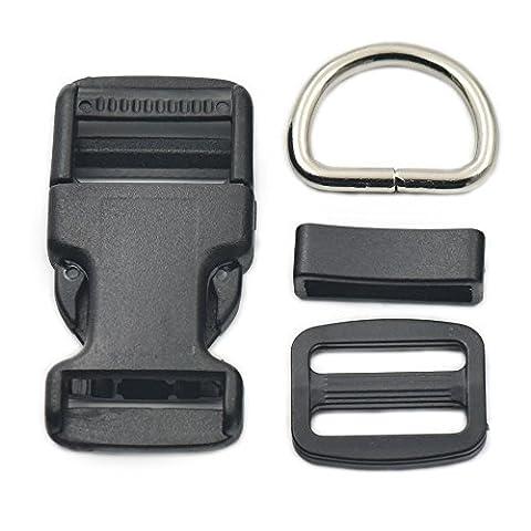 10 Sets 1 25mm Buckles Hook Clip Metal D Ring Side Release Adjustor Triglides Dog Collar by micoshop
