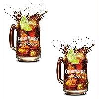 2x Edizione Limitata Ufficiale Memorabilia Retro Captain Morgan Tazza Boccale di vetro Bicchieri a barattolo