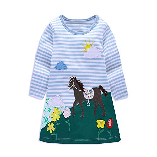 VIKITA Mädchen Blumen Langarm Baumwolle Kleid MS0269 2T