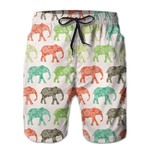 KLING Pantalones Cortos para Nadar, Pantalones de baño, Elefantes africanos, Secado rápido,...