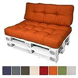 Beautissu Cuscino per spalliera di divani per bancali o pallet ECO Style 120x40x10-20cm schienale per divano - arancione